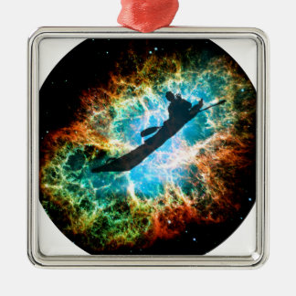 Kayaking the streams of a star cluster. metal ornament