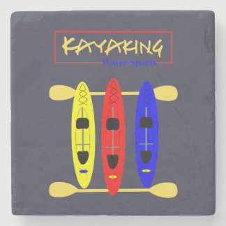 Kayaking Water Sports Themed Graphic Stone Coaster