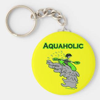 Kayaking Whitewater Silhouette Basic Round Button Keychain