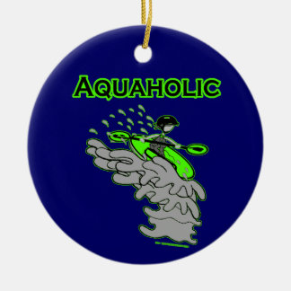 Kayaking Whitewater Silhouette Ceramic Ornament