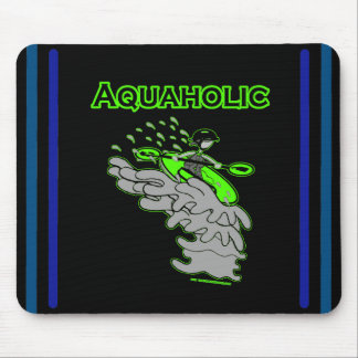 Kayaking Whitewater Silhouette Mouse Pad