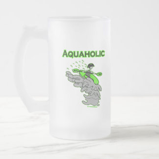 Kayaking Whitewater Silhouette 16 Oz Frosted Glass Beer Mug