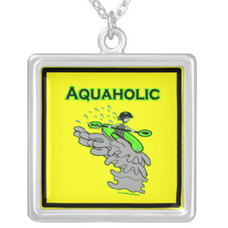 Kayaking Whitewater Silhouette Square Pendant Necklace