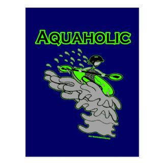 Kayaking Whitewater Silhouette Postcard