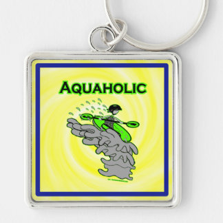 Kayaking Whitewater Silhouette Silver-Colored Square Keychain