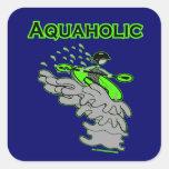 Kayaking Whitewater Silhouette Square Sticker