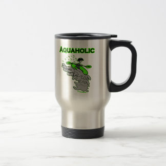 Kayaking Whitewater Silhouette Travel Mug