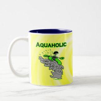 Kayaking Whitewater Silhouette Two-Tone Coffee Mug