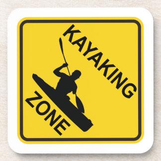 Kayaking Zone Road Sign Beverage Coaster