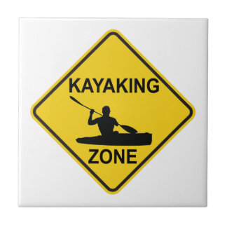 Kayaking Zone Road Sign Ceramic Tile