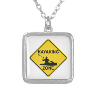 Kayaking Zone Road Sign Silver Plated Necklace