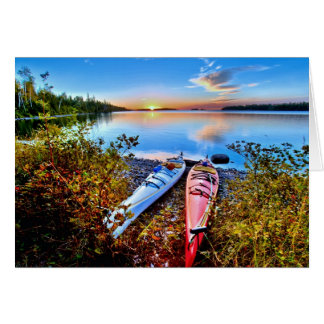 Kayaks At Sunrise On Isle Royale National Park Card