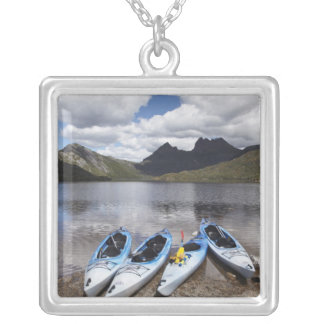 Kayaks, Cradle Mountain and Dove Lake, Cradle Silver Plated Necklace