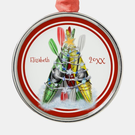 Kayaks decorated as Christmas tree personalized Metal Ornament