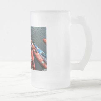 Kayaks! Frosted Glass Beer Mug