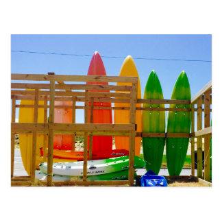 Kayaks in rainbow shades, OBX Postcard
