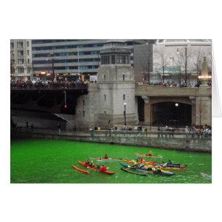Kayaks on a green Chicago River Card