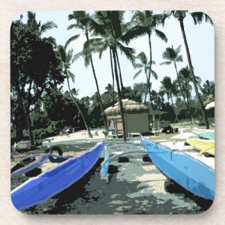 Kayaks on a Hawaiian Beach Coaster