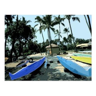 Kayaks On a Hawaiian Beach Postcard