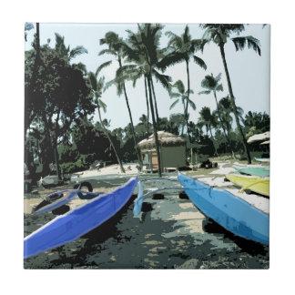 Kayaks on a Hawaiian Beach Tile
