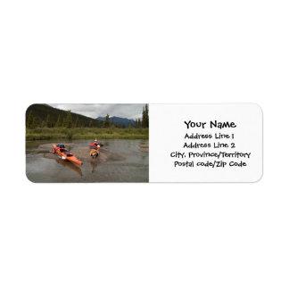 Kayaks on an Island Label