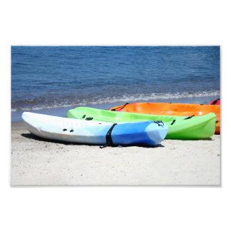 Kayaks on Beach Art Photo
