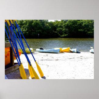 Kayaks on the bay poster