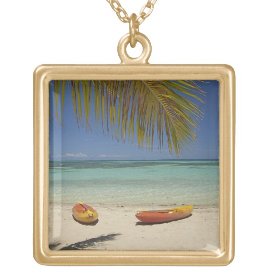 Kayaks on the beach, Plantation Island Resort 2 Gold Plated Necklace