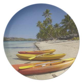 Kayaks on the beach, Plantation Island Resort Dinner Plate