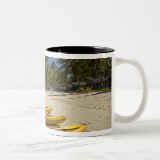 Kayaks on the beach, Plantation Island Resort Two-Tone Coffee Mug