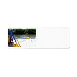 Kayaks on the beach return address label