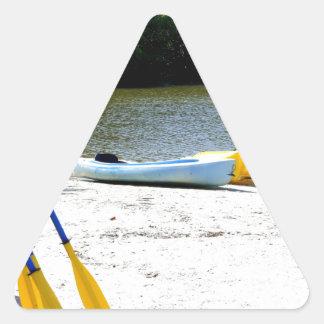 Kayaks on the Beach Triangle Sticker
