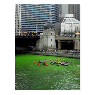 Kayaks on the green Chicago River Post Card