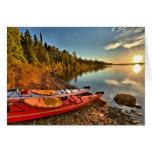 Kayaks On The Lake Superior Beach At Isle Royale Card