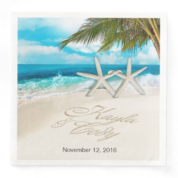 Beach Themed KAYLA Starfish Couple ASK 4 YOUR NAMES PUT IN SAND Paper Dinner Napkin
