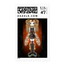 steam, punk, fairy, postage, stamps, faerie, kayla, myka, jelina, fantasy, art, faery, fairies, fae, gothic, characters, Stamp with custom graphic design