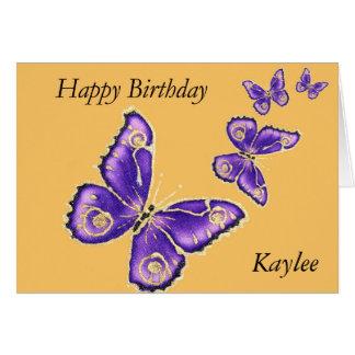 Kayle, Happy Birthday purple butterfly card