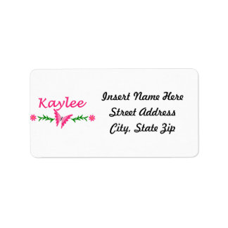 Kaylee (Pink Butterfly) Label