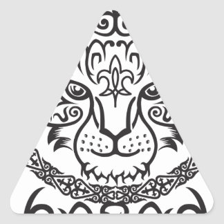 Kazakh style with snow leopard pattern triangle sticker