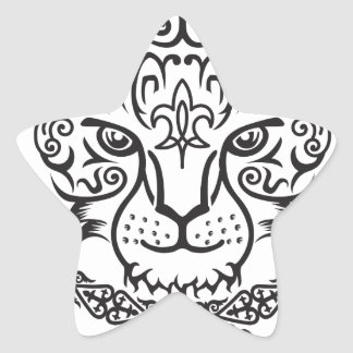 Kazakh style with snow leopard pattern star sticker