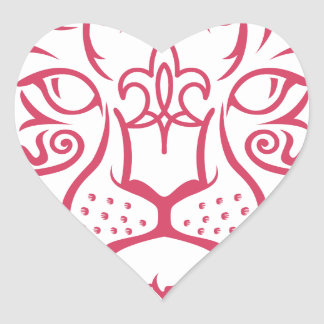 Kazakh style with snow leopard pattern heart stickers