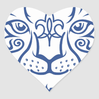 Kazakh style with snow leopard pattern heart sticker