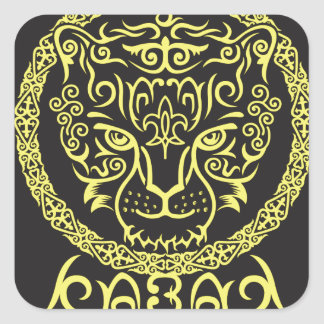 Kazakh style with snow leopard pattern square stickers