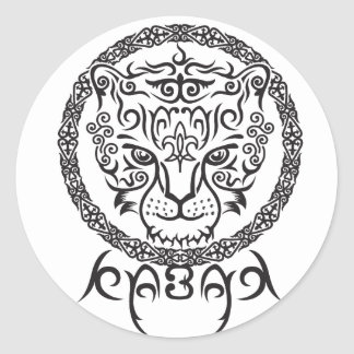 Kazakh style with snow leopard pattern round sticker