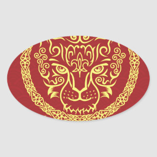 Kazakh style with snow leopard pattern oval stickers