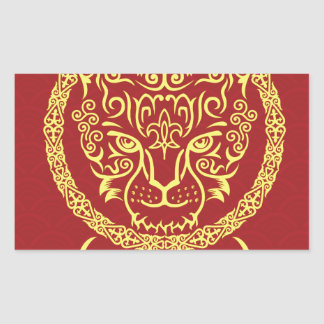 Kazakh style with snow leopard pattern rectangular stickers