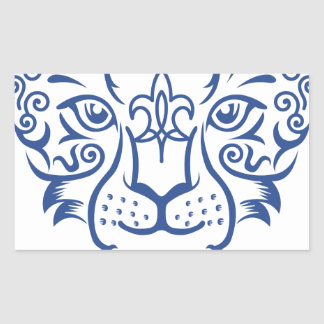 Kazakh style with snow leopard pattern rectangular sticker