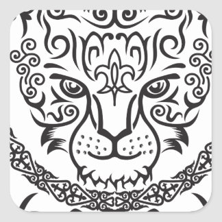 Kazakh style with snow leopard pattern square sticker