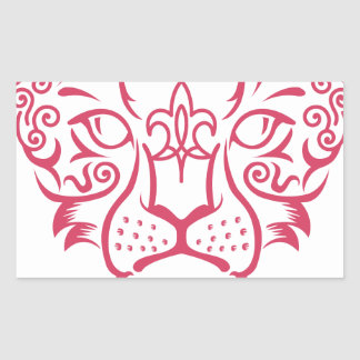 Kazakh style with snow leopard pattern rectangle sticker