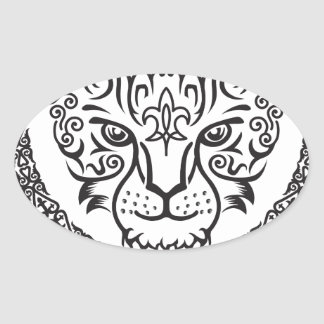 Kazakh style with snow leopard pattern oval sticker